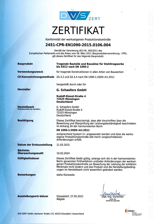 Zertifikat - Konformität der werkseigenen Produktionskontrolle