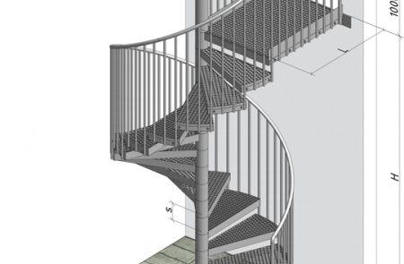 Spindeltreppe CAD Zeichnung
