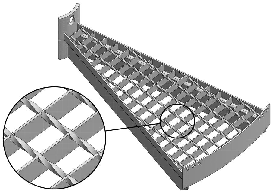 Stufe mit Schweißpress-Gitterrost Maschenweite 30/30 mm