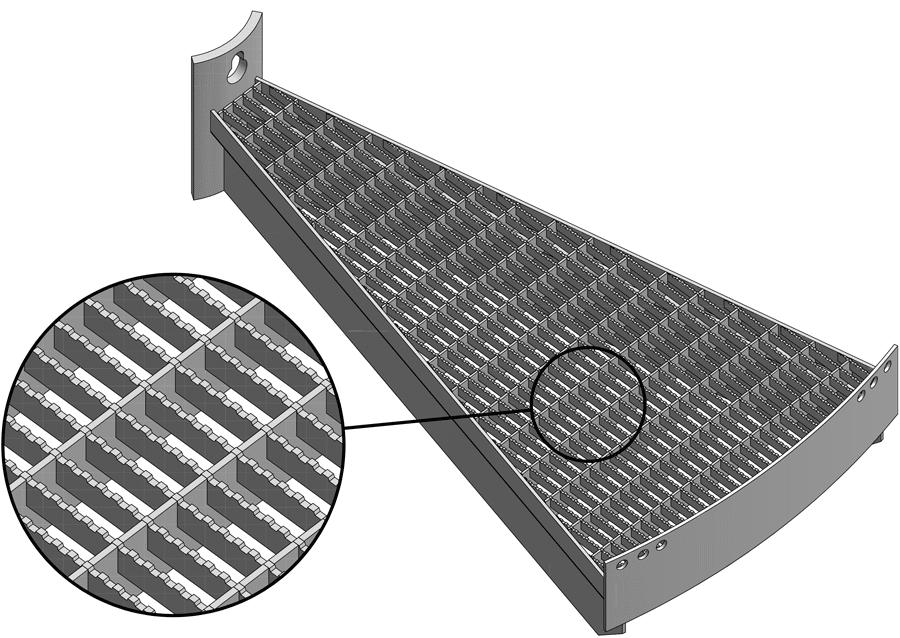 Stufe mit Gitterrost Maschenweite 30/10 mm rutschhemmend