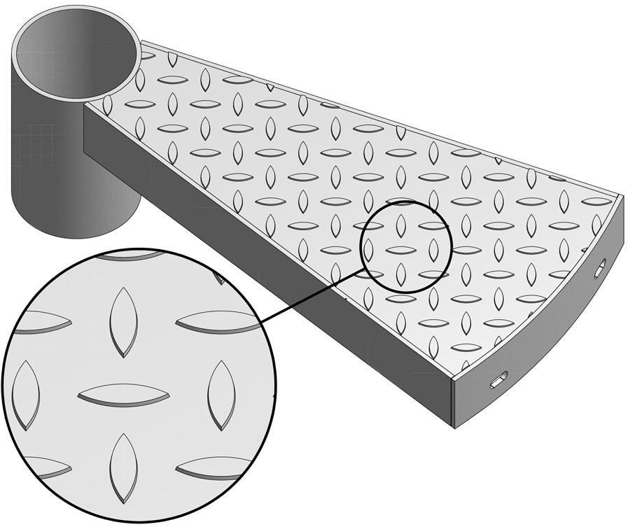 Stufe mit Blechprofilrost Noppe geschlossen BN-G