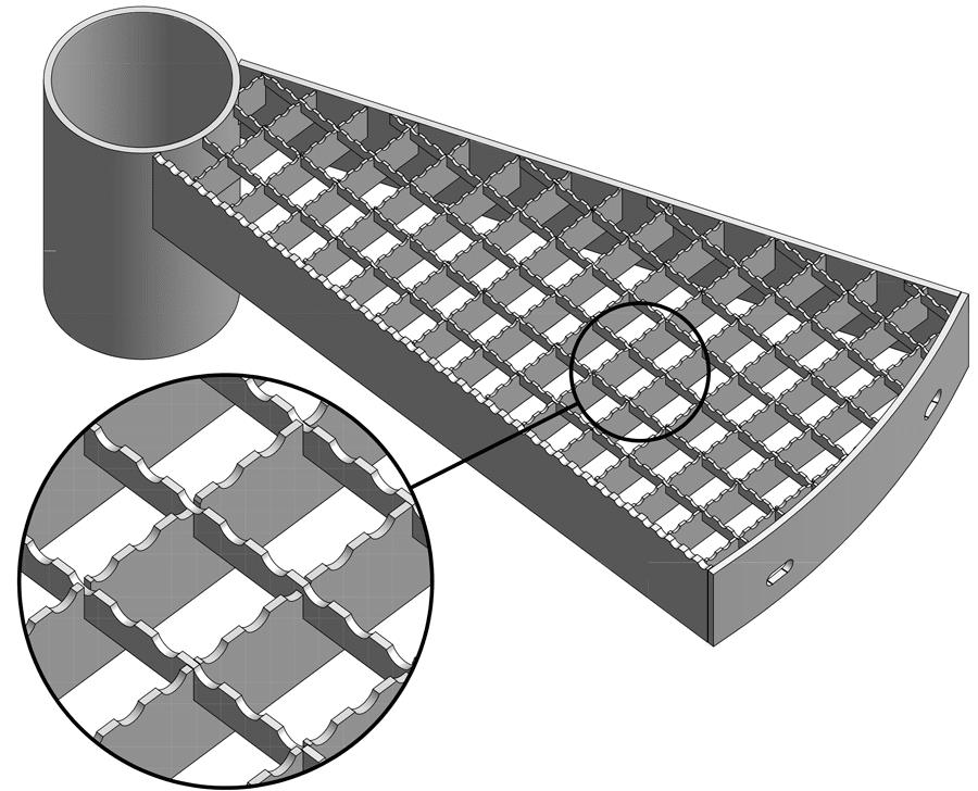 Stufe mit Gitterrost Maschenweite 30/30 mm rutschhemmend